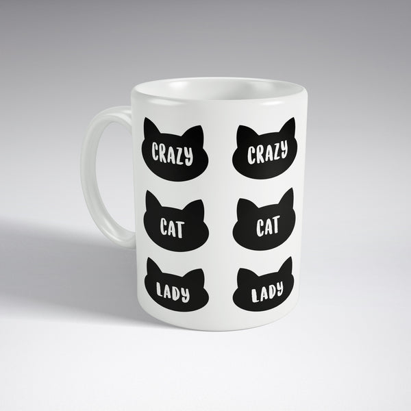 'Crazy Cat Lady' Black Full Wrap Mug