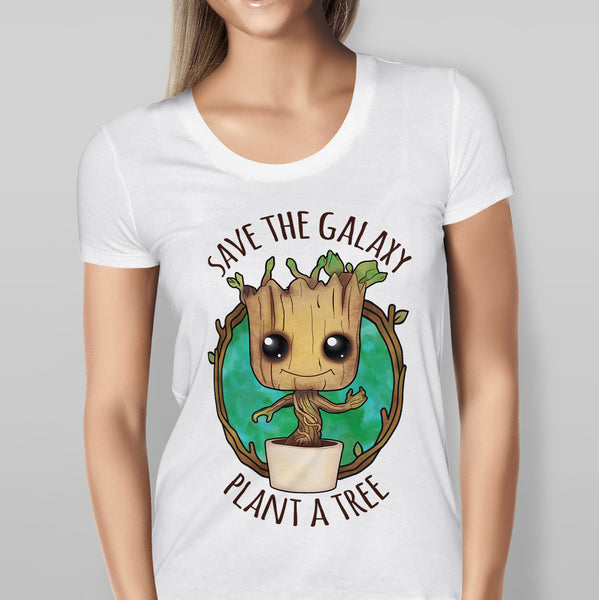 Womens 'Save the Galaxy Plant a Tree' Guardians of the Galaxy - Baby Groot - White T-shirt