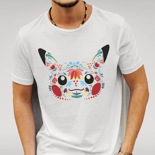 Pikachu Inspired Folk Art - White T-shirt