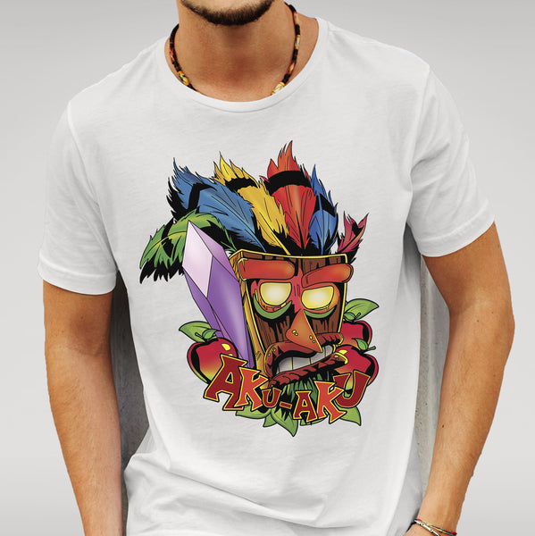 Crash Bandicoot Inspired 'Aku-Aku' - White T-shirt