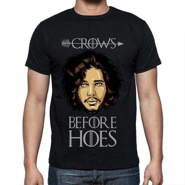 Black Game of Thrones Jon Snow T-shirt S M L XL XXL Crows before hoes