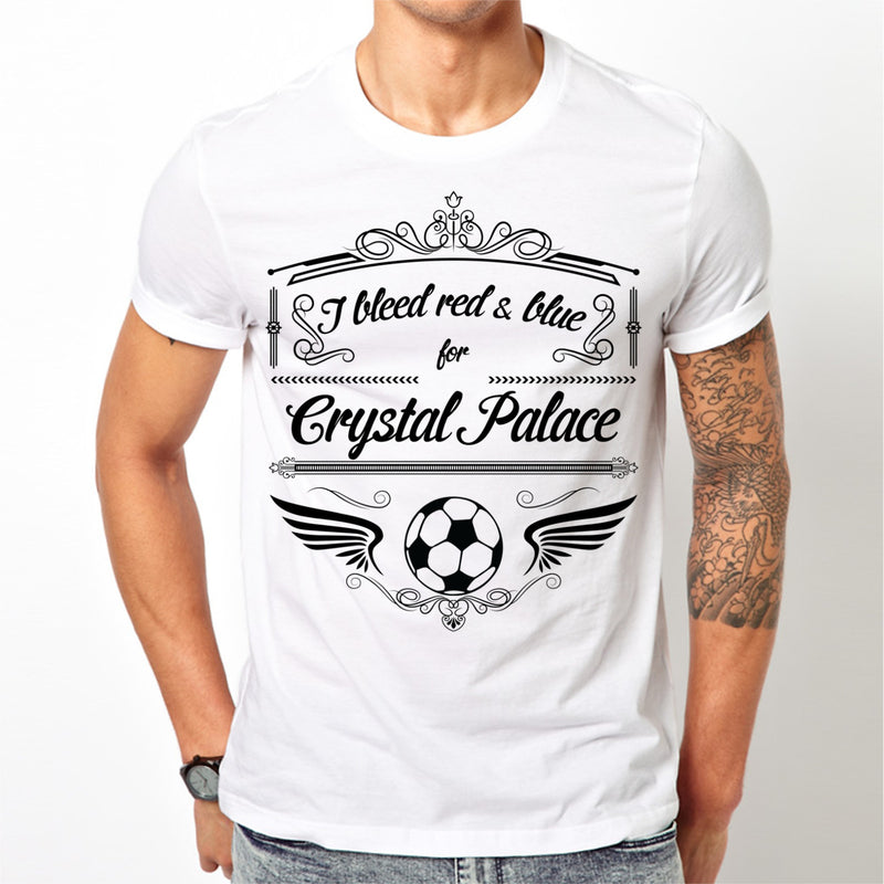 White Crystal Palace T Shirt S M L XL XXL I Bleed Red & Blue