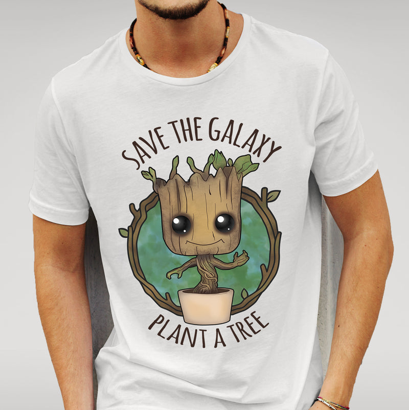 'Save The Galaxy Plant a Tree' Guardians of the Galaxy - Baby Groot - White T-shirt