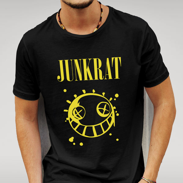 Overwatch Vs Nirvana Junkrat Parody - Black T-shirt