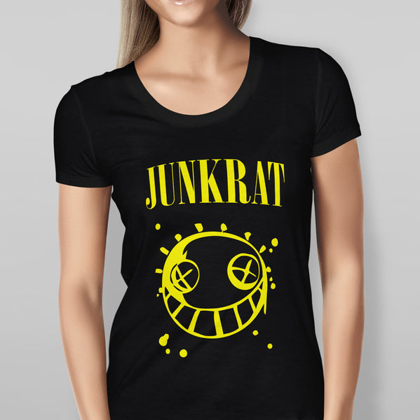 Womens Overwatch Vs Nirvana Junkrat Parody Black T-shirt