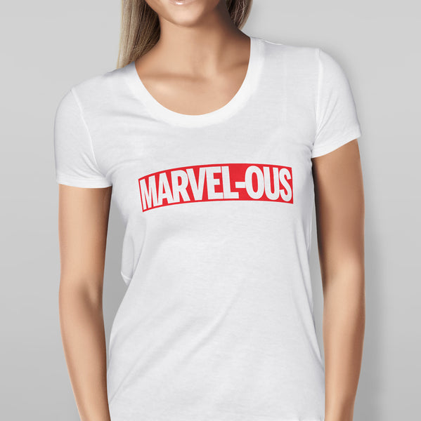 Womens 'MARVEL - OUS' Marvel - White T-shirt