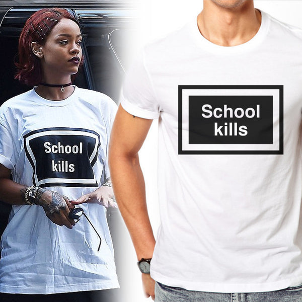 Men's School kills t-shirt as worn by Rihanna in white