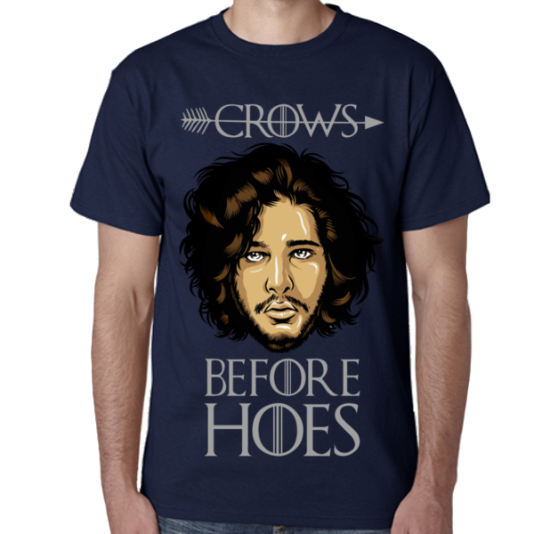 Navy Game of Thrones Jon Snow T-shirt S M L XL XXL Crows before hoes