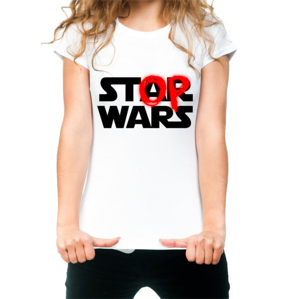 Women's White Stop Wars T-shirt