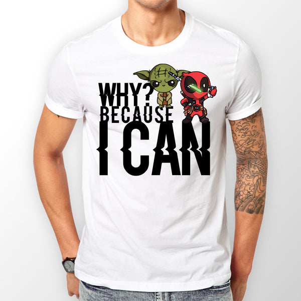 White 'Because i can' T-shirt