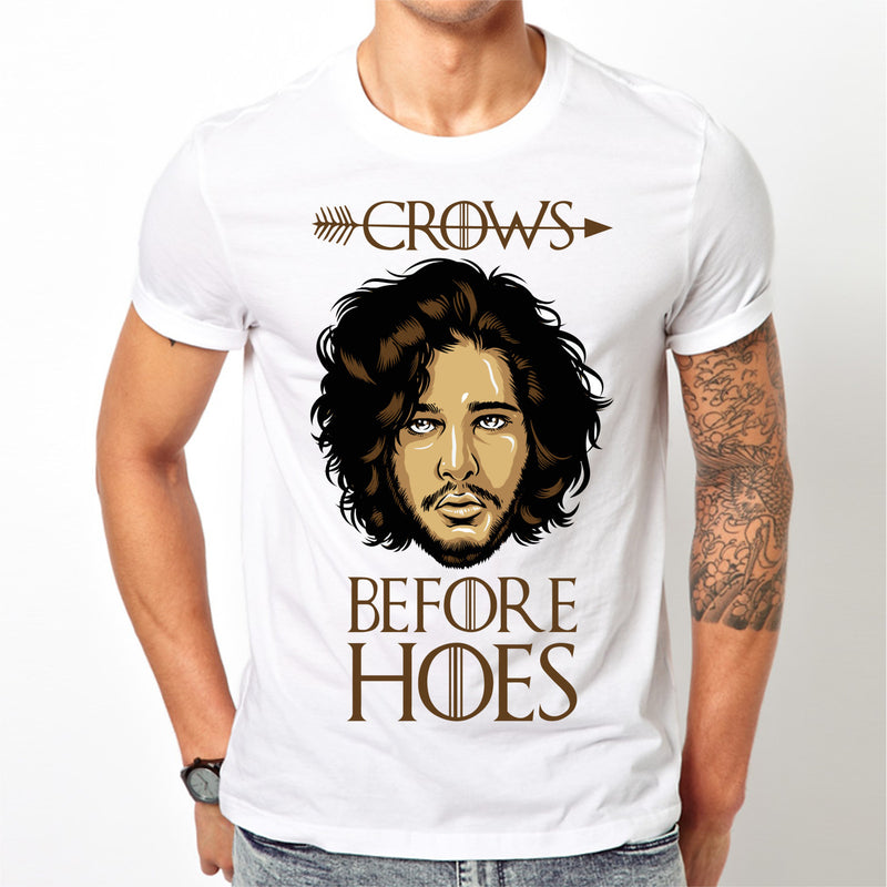 White Game of Thrones Jon Snow T-shirt S M L XL XXL Crows before hoes