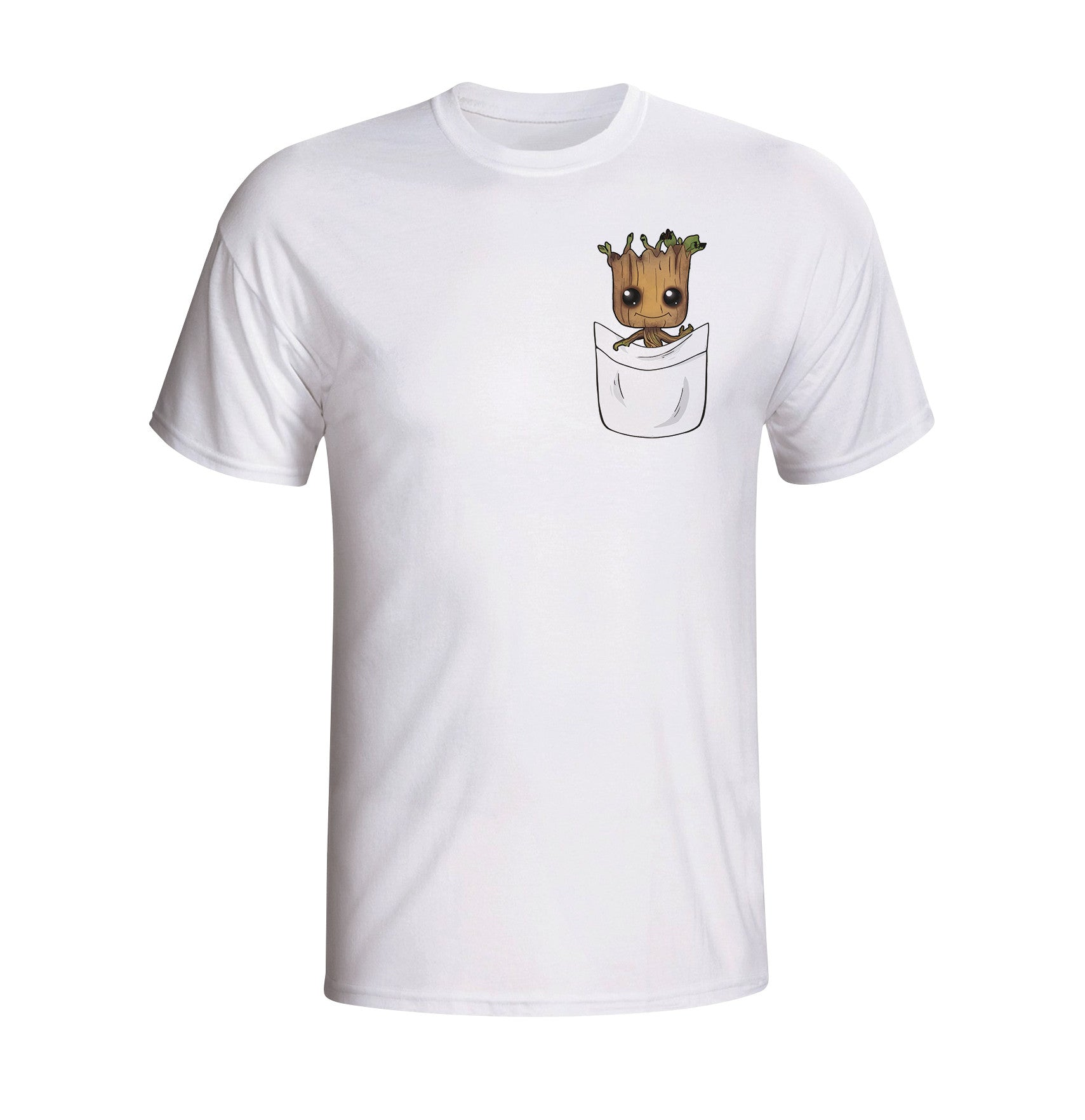 Guardians of the galaxy baby groot white pocket print for Galaxy white t shirts wholesale