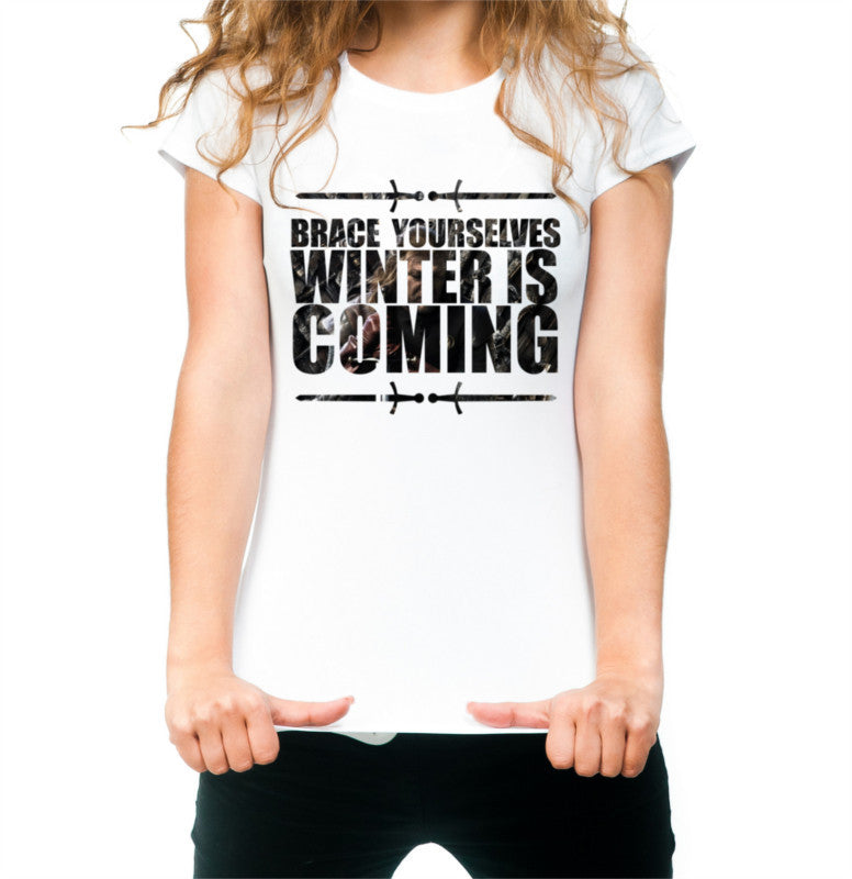 White Women's Winter is coming Game of Thrones T-shirt