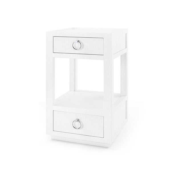 White Grasscloth Side Table