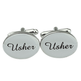 1 Pair Mens Silver Oval Wedding Cufflinks Groom Best Man Usher Page Boy Cuff Link Gift