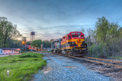 KC Southern Locomotives at Sunset