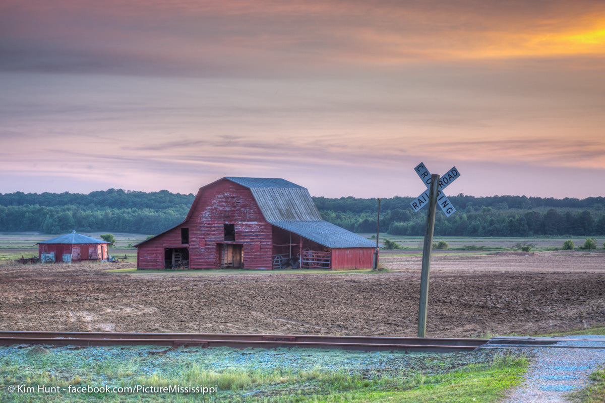 Barn Crossing Sunset