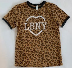 LBNY Heart YOUTH Short Sleeve Leopard Print Ringer Tee