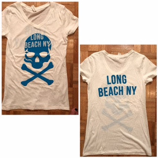 New Skull Ladies Short Sleeve Long Beach NY T-Shirt
