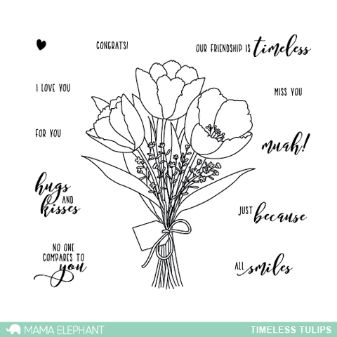 mama elephant stamps timeless tulips