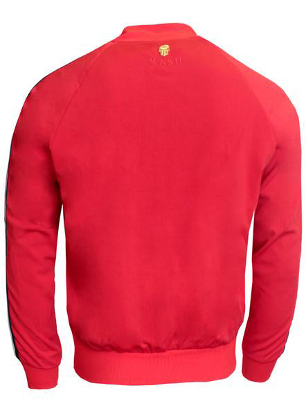 Men's Long Sleeve Track Jacket with Side Stripes-Red