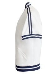 Men's Short Sleeve Nautical Track Jacket-White