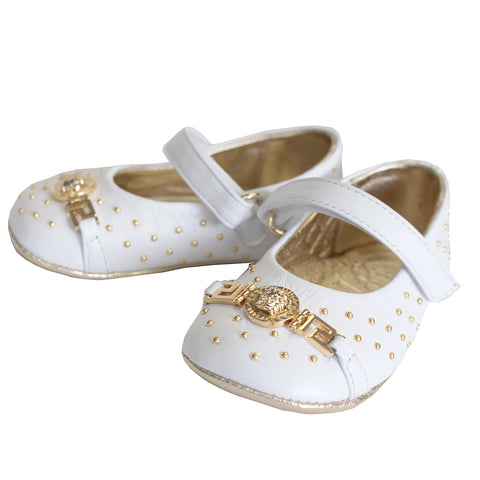 Baby Girl Embellished Medusa Crib Shoes-White
