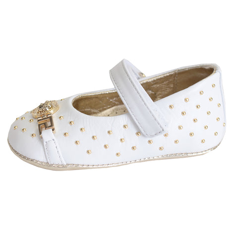 Baby Girl Embellished Medusa Crib Shoes|White