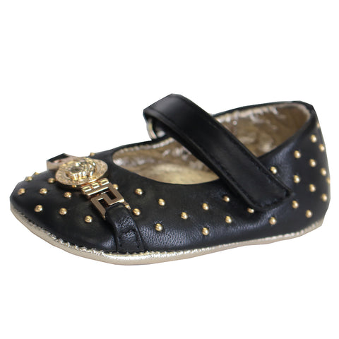 Baby Girl Embellished Medusa Crib Shoes-Black