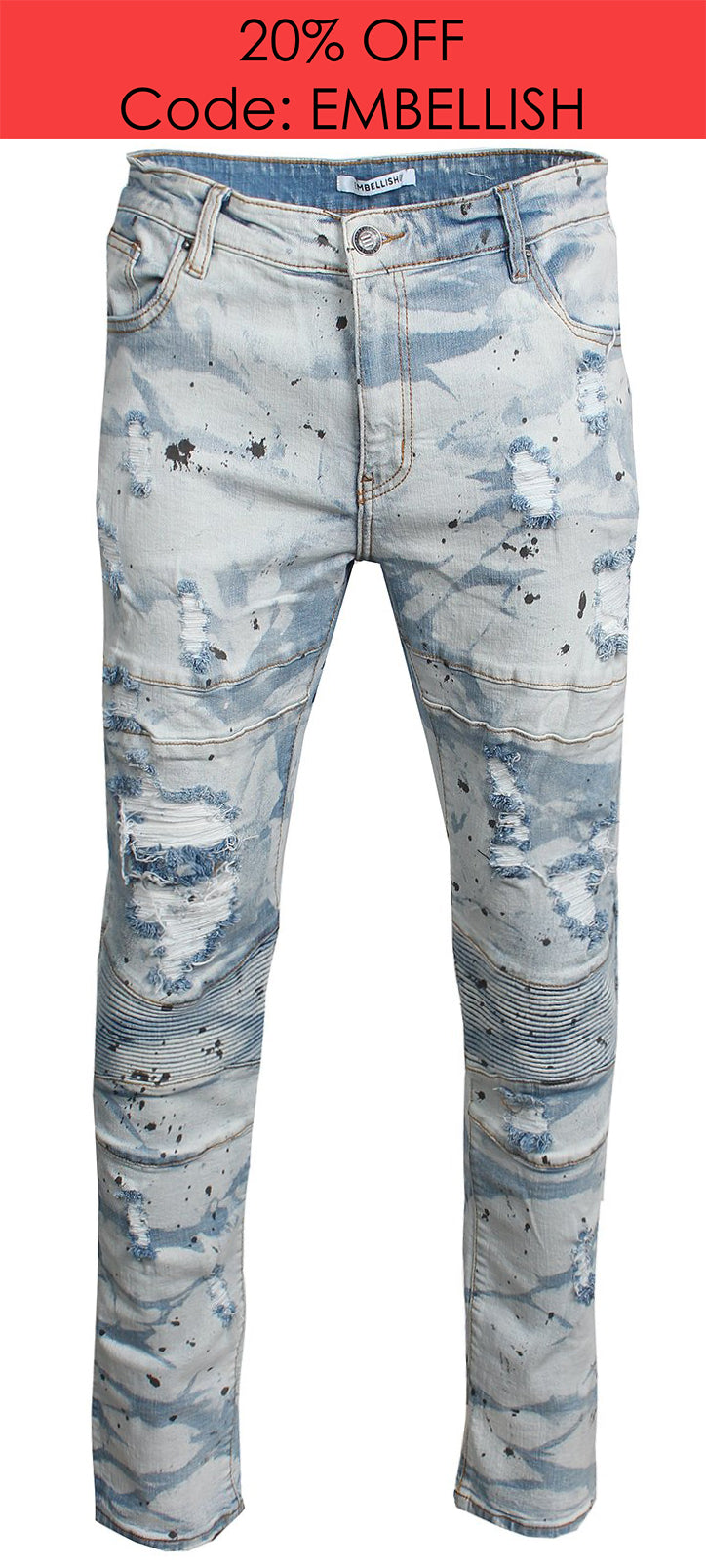 Men's Anika Biker Denim-Acid Wash