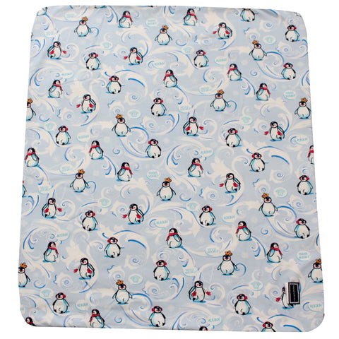 Baby Pinguin Print and Medusa logo embroidered Blanket-White and Blue