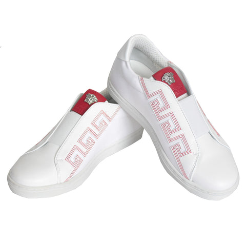 Boys Sneakers With Greca Logo-White