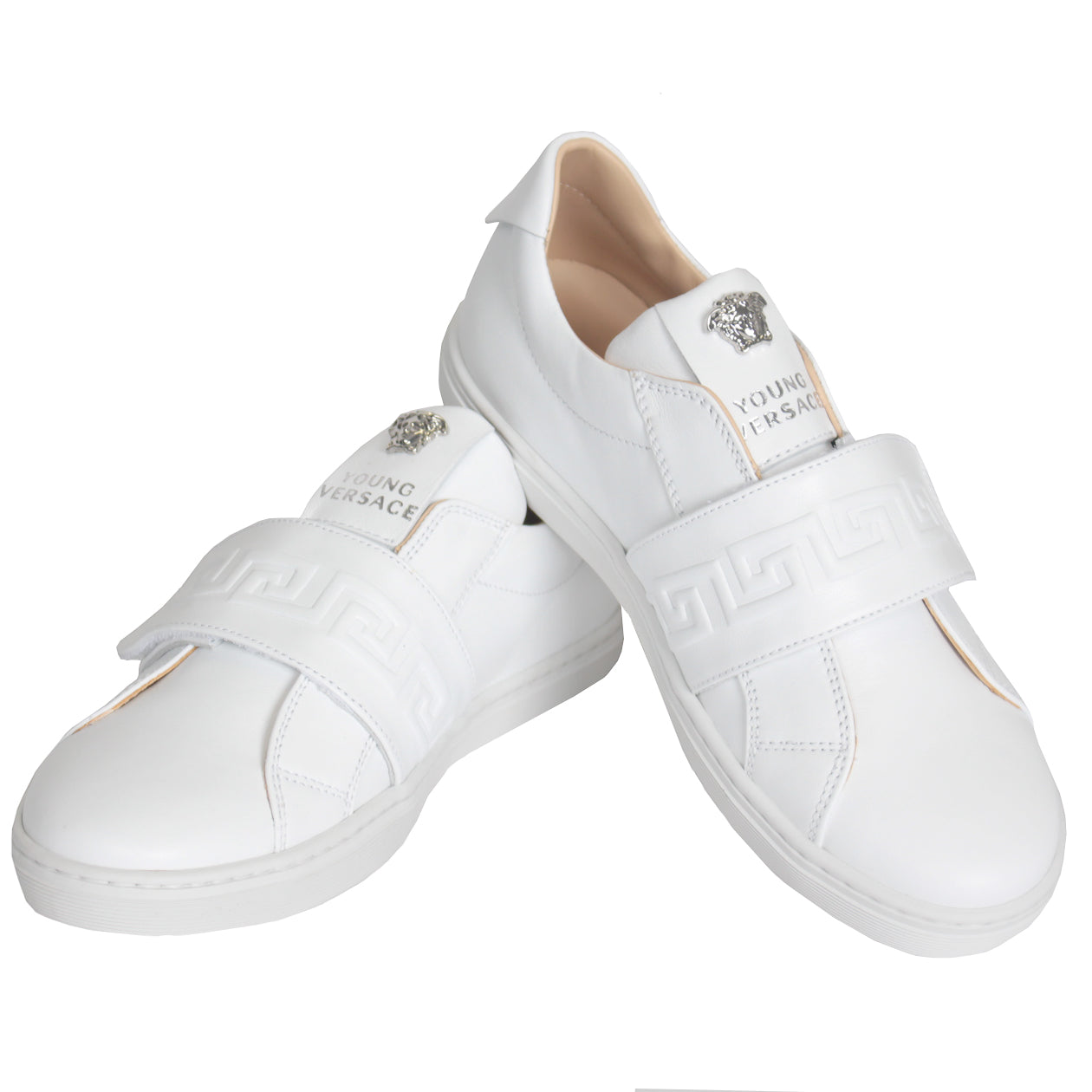 Young Versace Greca Sneakers| White