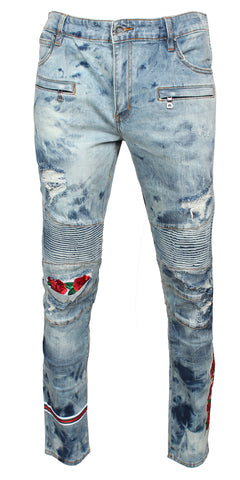 EMBELLISH Costello Biker Denim (Blue Bleach Rip)