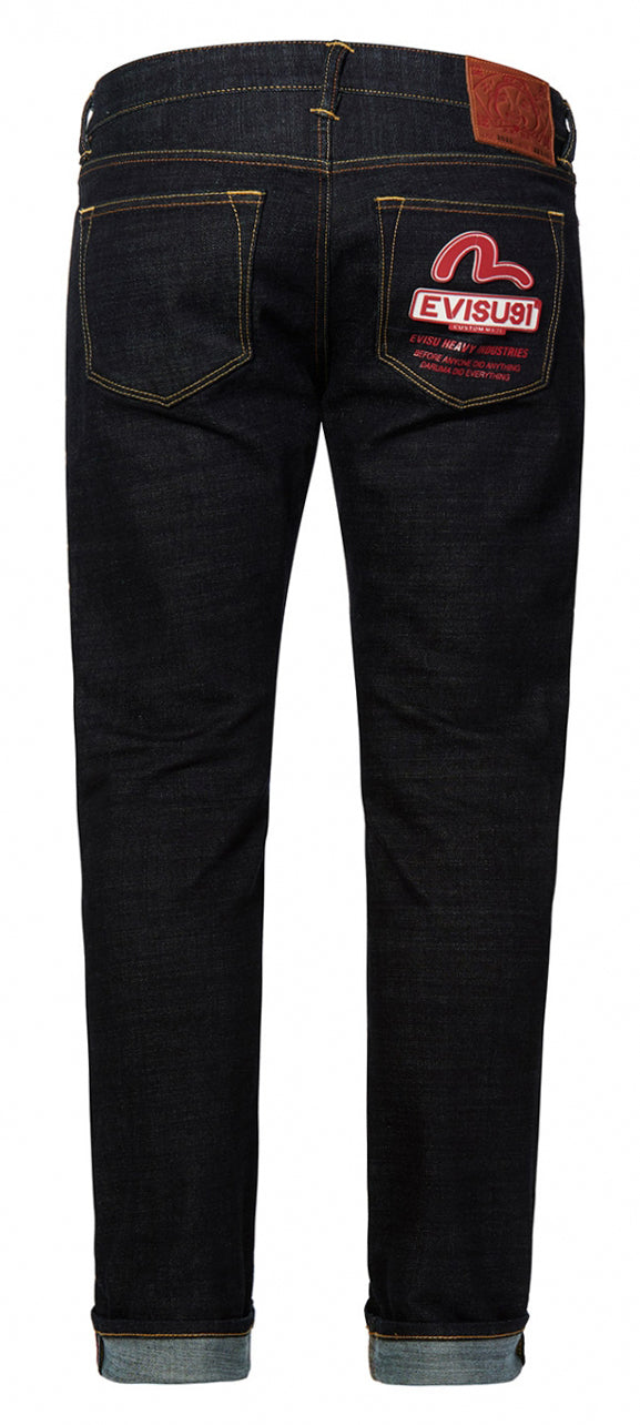 Men's Stretch Skinny Fit Jeans with Seagull and EVISU 91 Silicon Badges