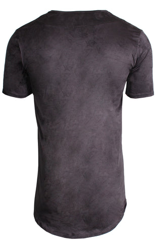 Men's Short Sleeve Elongated Stretch Suede Tunic-Black