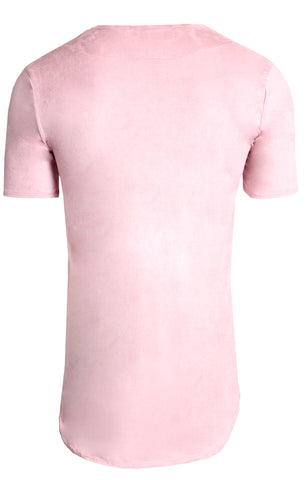 Elongated Stretch Suede Rose Gold Tunic