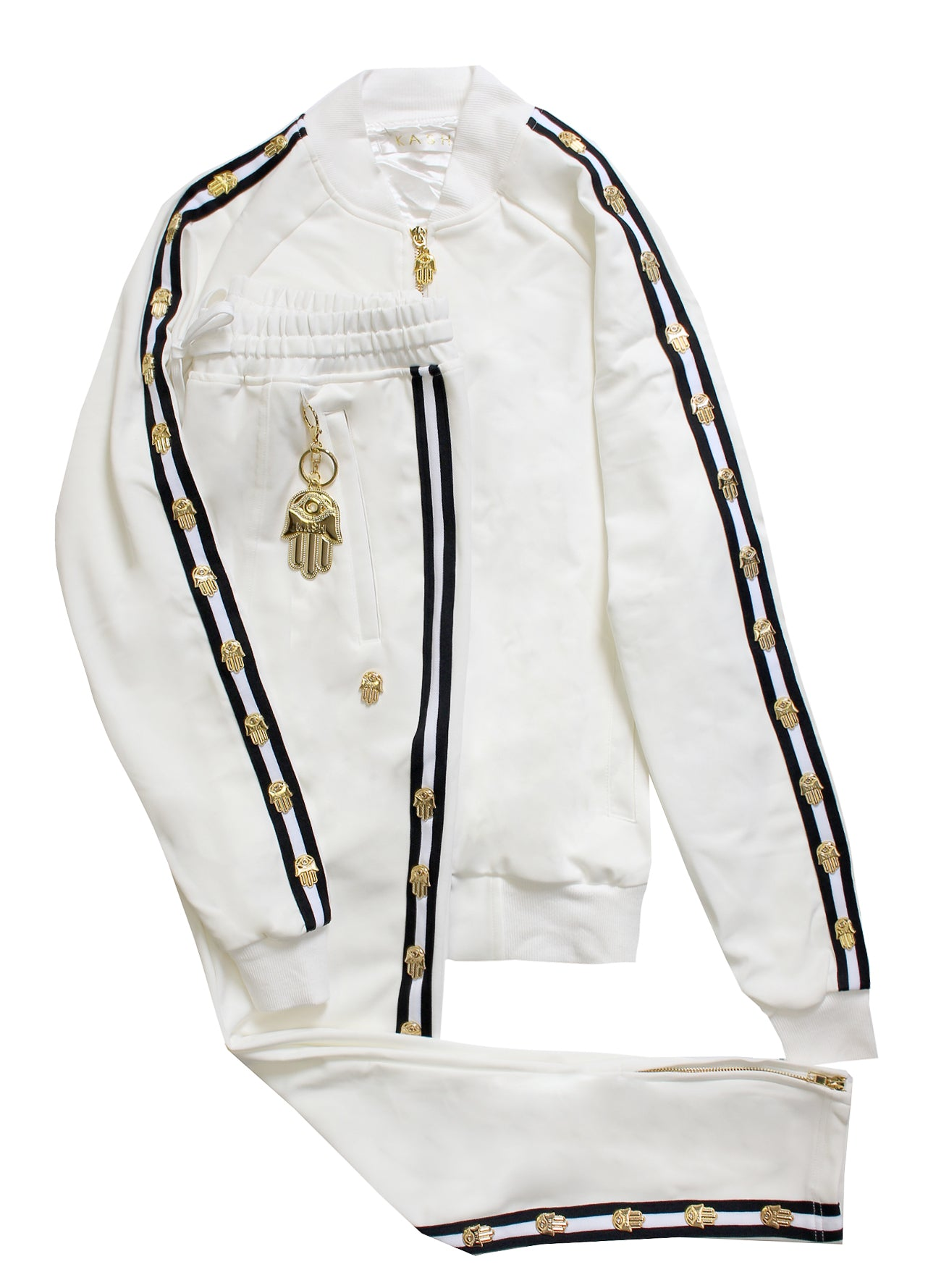 Men's Long Sleeve Icon Track Jacket with HAMSA Hand-White