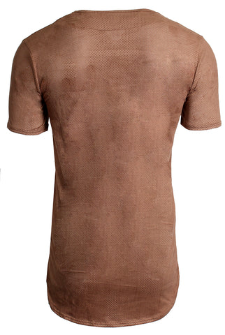 Perforated Brown Crew Neck Tee