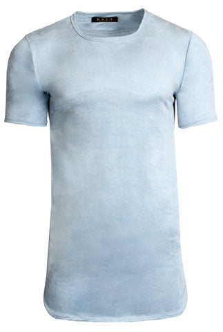 Elongated Stretch Suede Light Blue Tunic