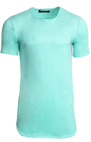 Men's Short Sleeve Elongated Stretch Suede Tunic - Mint