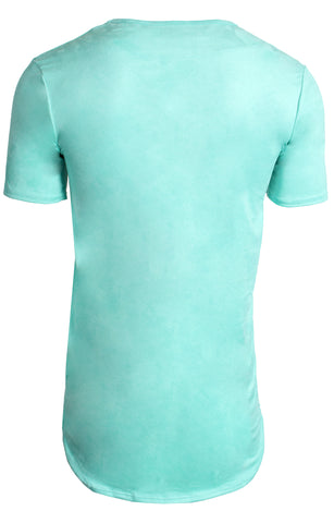 Elongated Stretch Suede Aqua Tunic