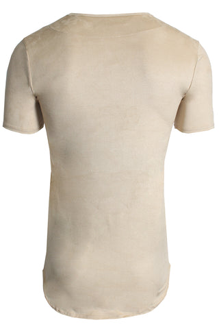 Men's Short Sleeve Elongated Stretch Suede Tunic-Tan