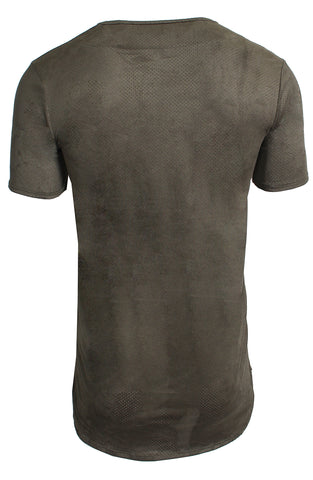 Perforated Brown Crew Neck Tee | Green