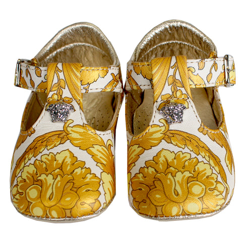 Baby All over Gold Print Crib Shoe-Gold