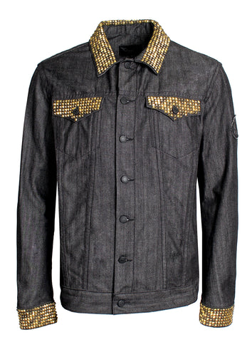 Custom Hand Crafted Gold Studded Black Denim Jean Jacket Front
