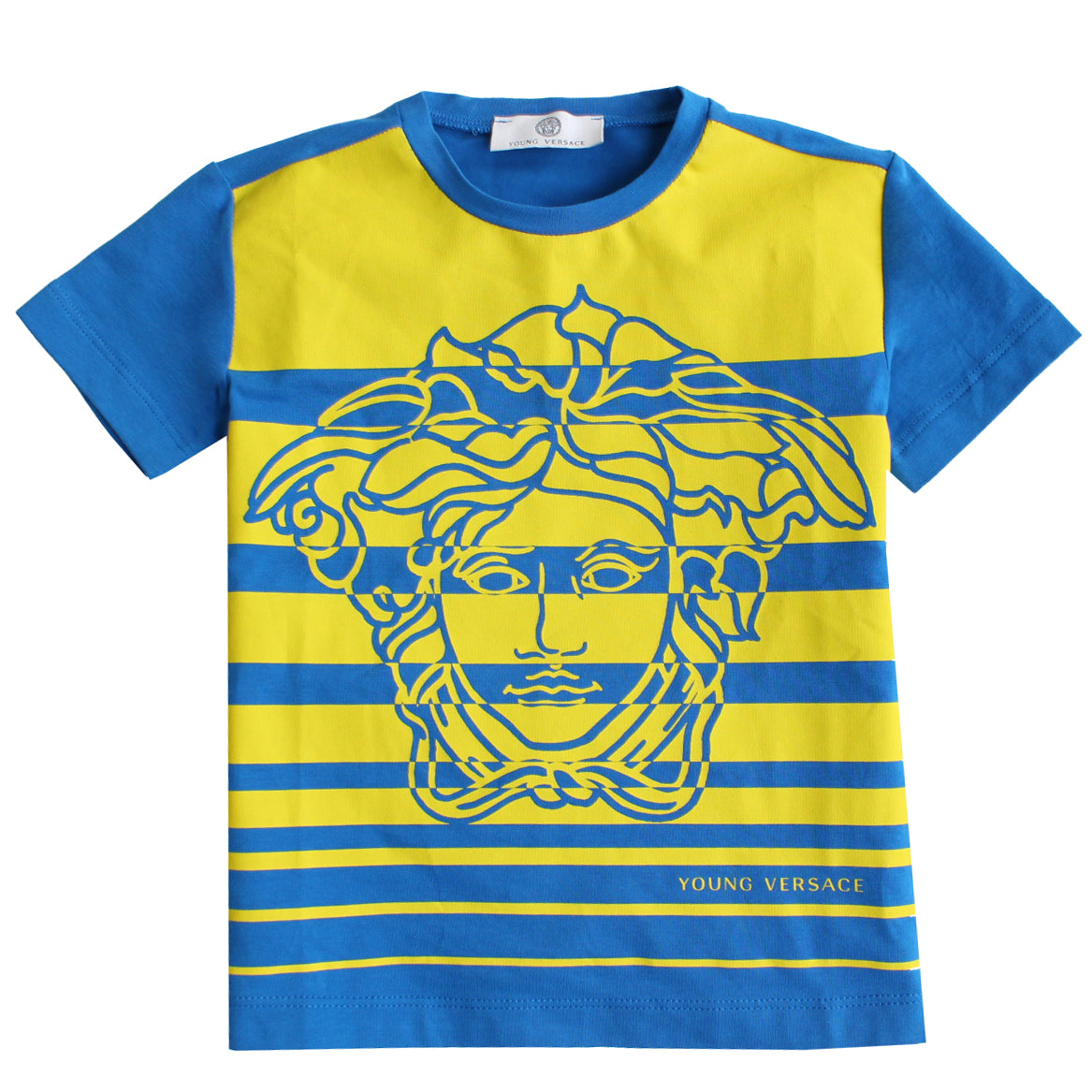 Boys Short Sleeve Striped T-Shirt-Blue and Yellow