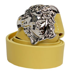 Kids Leather Belt with full Silver Medusa Head-Yellow