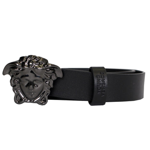Young Versace | Matte Black Leather Belt with Full Pewter Medusa Head