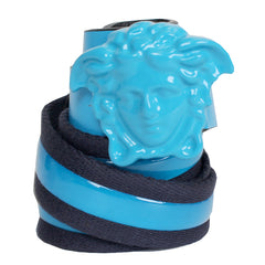 Kids Leather and Elastic Belt with Full Medusa Head-Turquoise